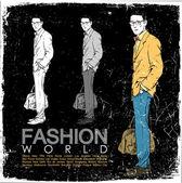 Grunge vector illustration of stylish dude on black background. — Stock Vector