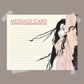 Message card with fashion girl fixed with sticky tape. Vector illustration. — 图库矢量图片