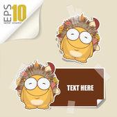 Set di carte di vettore messaggio con cartone animato riccio. — Vettoriale Stock