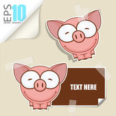 Set of message card with cartoon pig and paper pig fixed with sticky tape. Vector illustration. — Stock Vector
