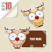Set of message card with cartoon deer and paper deer fixed with sticky tape. Vector illustration. — Stock Vector