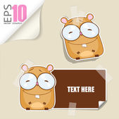 Set of message card with cartoon hamster and paper hamster fixed with sticky tape. Vector illustration. — Stock Vector