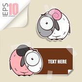 Set of message card with cartoon sheep and paper sheep fixed with sticky tape. Vector illustration. — Stock Vector
