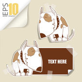 Set of message card with cartoon dog and paper dog fixed with sticky tape. Vector illustration. — Stock Vector