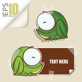 Set of message card with cartoon frog and paper frog fixed with sticky tape. Vector illustration. — Stock Vector
