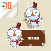 Set of message card with cartoon snowman and paper snowman fixed with sticky tape. Vector illustration. — Stock Vector