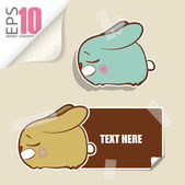 Set of message card with cartoon bunny and paper bunny fixed with sticky tape. Vector illustration. — Stock Vector