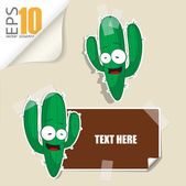Set of message card with cartoon cactus and paper cactus fixed with sticky tape. Vector illustration. — Stock Vector