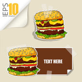 Set of message card with cartoon burger and paper burger fixed with sticky tape. Vector illustration. — Stock Vector