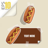Set of message card with cartoon hotdog and paper hotdog fixed with sticky tape. Vector illustration. — Stock Vector
