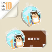 Set of message card with cartoon boy character and paper boy character fixed with sticky tape. Vector illustration. — Stock Vector