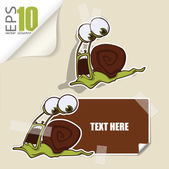 Set of message card with cartoon snail and paper snail fixed with sticky tape. Vector illustration. — Stock Vector