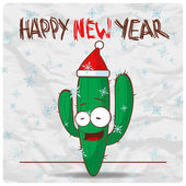 Greeting christmas card with funny cactus character. Vector illustration — Stock Vector