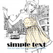Cute fashion girl on a street background. Hand drawn vector illustration. — Stock Vector #22374763