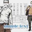 Stylish dude on a street-background. Vector illustration. - Stock Vector