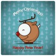 Christmas greeting card with cartoon deer. Vector illustration — Stock Vector