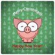 Christmas greeting card with cartoon pig. Vector illustration — Stock Vector