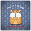 Christmas greeting card with cartoon hamster. Vector illustration - Stock Vector