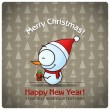 Christmas greeting card with cartoon snowman. Vector illustration — Stock Vector