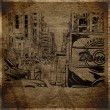EPS10 vintage background with cityscape — Imagen vectorial