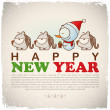 New Year greeting card with snowman and tigers. Vector illustration — Stock Vector #22377507