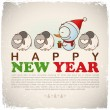 New Year greeting card with snowman and sheep. Vector illustration - Vettoriali Stock