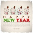 New Year greeting card with snowman. Vector illustration - Vettoriali Stock