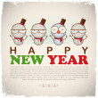 New Year greeting card with snowman. Vector illustration - Imagens vectoriais em stock