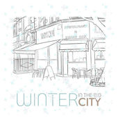 Winter in the city. Vector illustration. — Stock Vector
