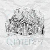 Zima ve městě. vektorové ilustrace. — Stock vektor