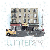 Winter in the big city. Vector illustration. — Stock Vector