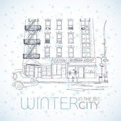 Winter in the big city. Vector illustration. — Stock Vector