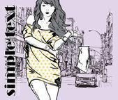 Lovely girl on a street background. Hand drawn vector illustration — Stock Vector