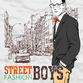 Stylish dude with bag on a street-background. Vector illustration. — Stock Vector