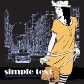 Roztomilá dívka v náčrtu stylu v městské pozadí. vektorové ilustrace — Stock vektor