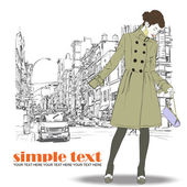 Cute fashion girl on a street background. Hand drawn vector illustration. — Stock Vector