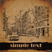 Vintage background with cityscape. Place for your text — Stockvector