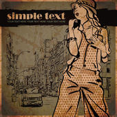 Menina de moda bonito na rua um plano de fundo. ilustração vetorial desenhada de mão. — Vetorial Stock