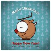 圣诞贺卡卡通鹿。矢量插画 — 图库矢量图片
