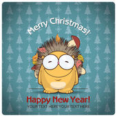 Christmas greeting card with cartoon hedgehog. Vector illustration — Vettoriale Stock
