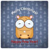 Christmas greeting card with cartoon hamster. Vector illustration — Stock Vector