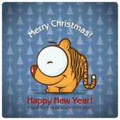 Christmas greeting card with cartoon tiger. Vector illustration — Stock Vector