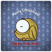 Christmas greeting card with cartoon frog. Vector illustration — 图库矢量图片