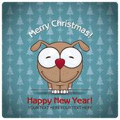 圣诞贺卡卡通小狗。矢量插画 — 图库矢量图片