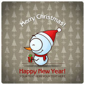 Christmas greeting card with cartoon snowman. Vector illustration — Vettoriale Stock