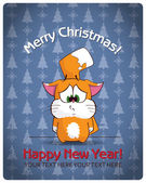 Christmas greeting card with cartoon cat. Vector illustration — Stock Vector
