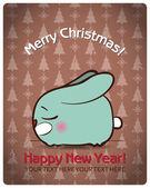 圣诞贺卡卡通兔。矢量插画 — 图库矢量图片