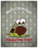 Christmas greeting card with cartoon snail. Vector illustration — Stock Vector