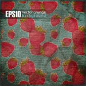イチゴと eps10 ビンテージ背景 — ストックベクタ