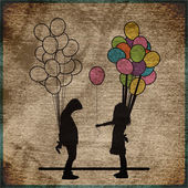 EPS10 vintage background with Boy and girl with balloons — Stock Vector